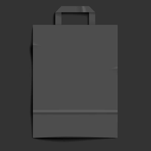 Dark gray paper bag background vector art illustration