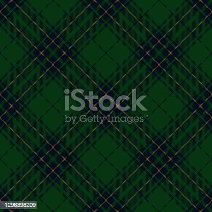 istock Dark Green Blue Argyle Scottish Tartan Plaid Textile Pattern 1296398209