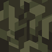 Dark green isometric camouflage pattern. Seamless texture, vector. Geometric camo background. Abstract urban style backdrop.