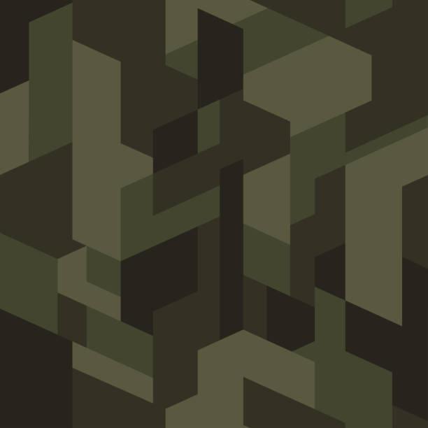 深綠色等距偽裝圖案。無縫的紋理, 向量。幾何迷色背景。抽象的城市風格背景。 - 偽裝 幅插畫檔、美工圖案、卡通及圖標