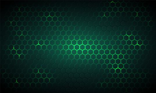Dark green technology hexagonal vector background. Abstract green bright energy flashes under hexagon in dark technology, modern, futuristic vector illustration. Green honeycomb texture grid.