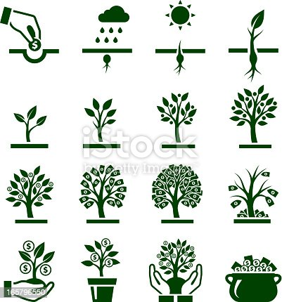 Money Growing on Tree icon set