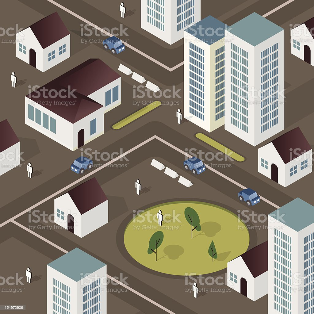Dark grey city - isometric vector art illustration