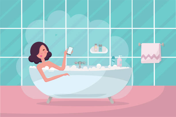 stockillustraties, clipart, cartoons en iconen met donker haar meisje in bad met smartphone in haar hand. badkamer interieur met handdoek en stoom. mooie vrouw ontspannen, het nemen van een bubbelbad. platte cartoon vector illustratie - cell phone toilet