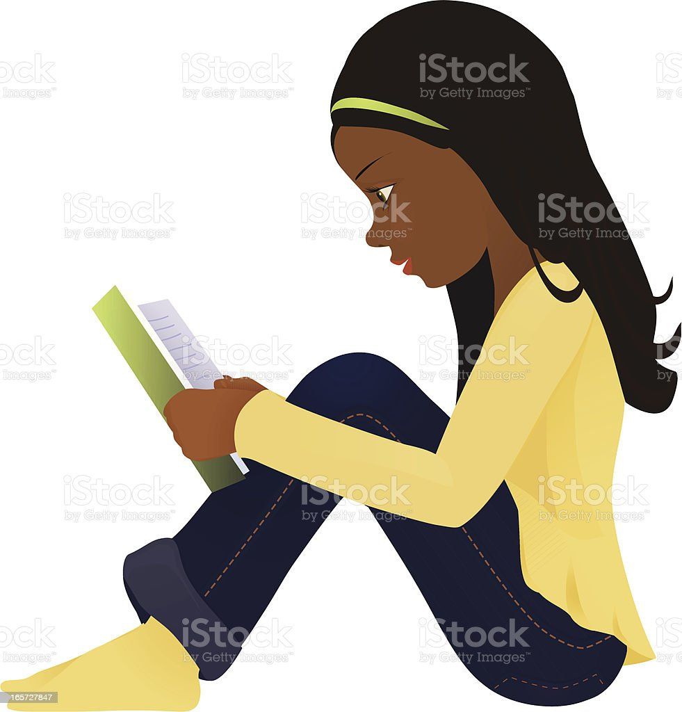 Dark hair girl with a book royalty-free dark hair girl with a book stock vector art & more images of african ethnicity