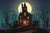 Dark halloween house with moon in vector