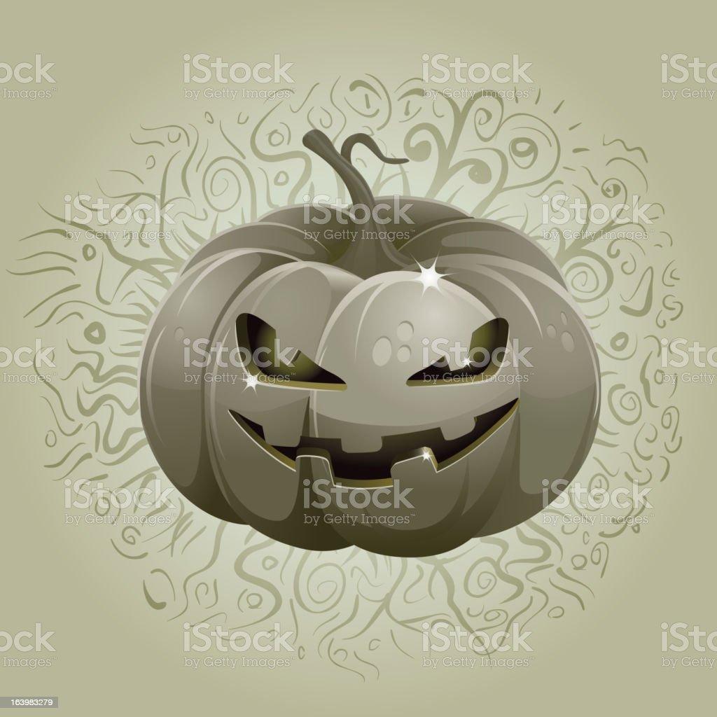 Dark Halloween Pumpkin vector art illustration