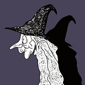 Dark Halloween Wicked Witch Art Drawing.
