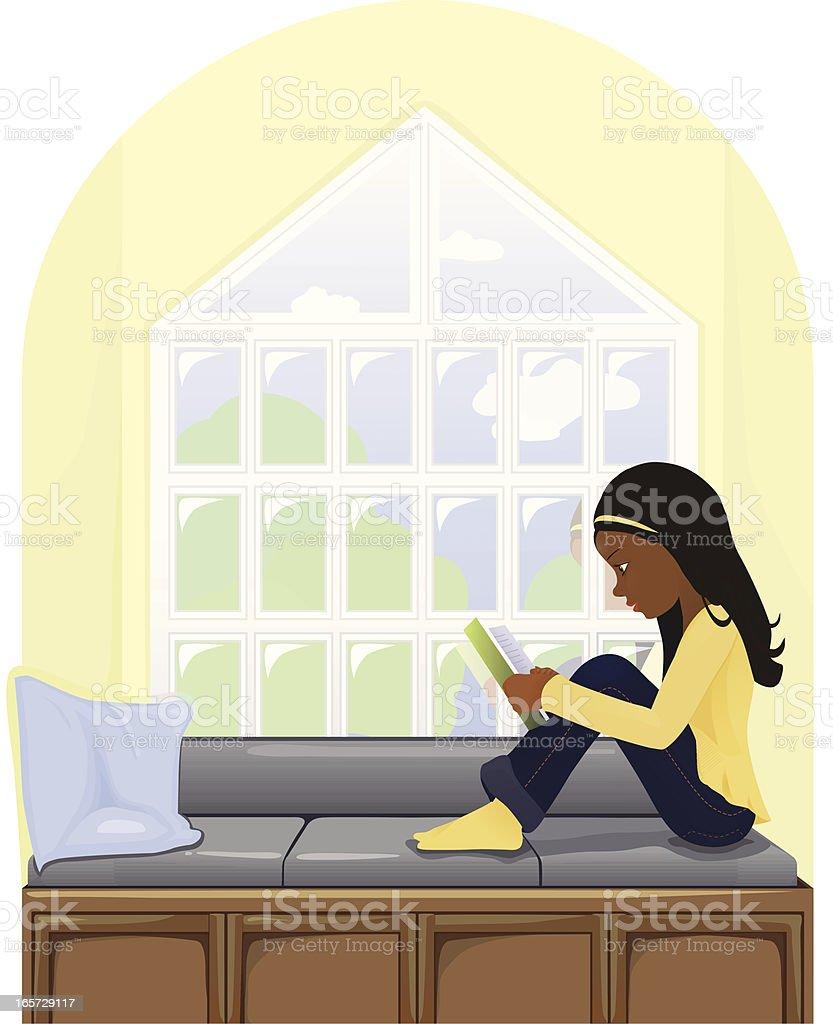 Dark hear girl reading a book on window seat vector art illustration