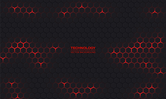 Dark hexagonal technology vector abstract background. Red bright energy flashes under hexagon.