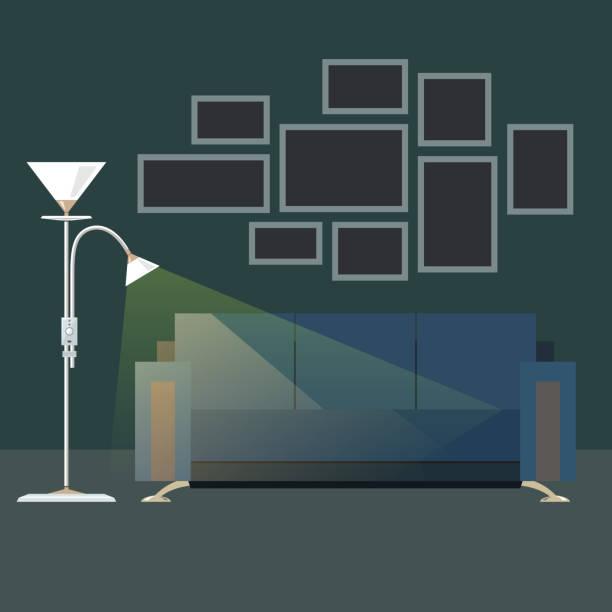 Dark Interior Living Room Vector Art Illustration