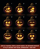 Vector icons of a lighten Jack O Lantern glowing in the dark in 9 happy, funny n goof expressions. Each expression on separate Layer. Pumpkin, Eyes, Mouth, Glow and Floor Glow on separate groups.