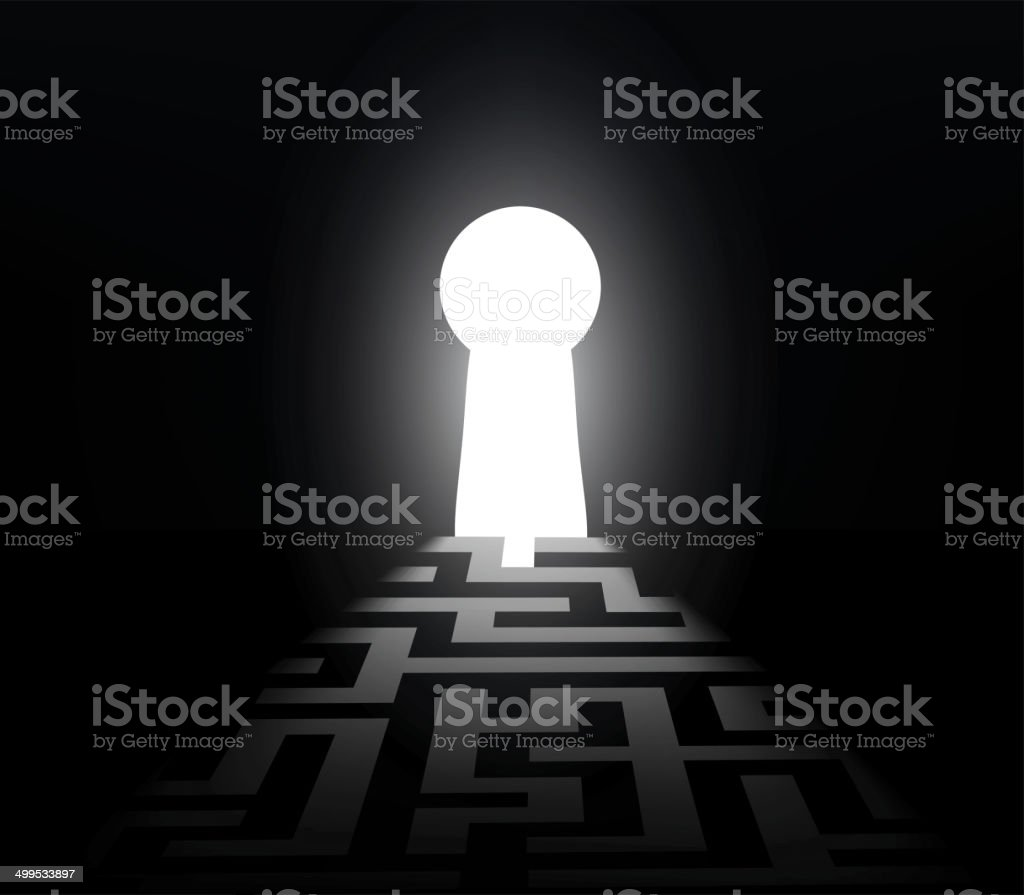 dark labyrinth with exit to the keyhole vector art illustration