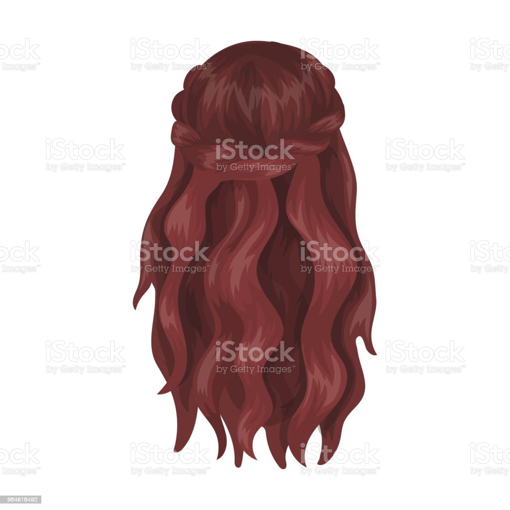 Dark, loose hair behind.Back hairstyle single icon in cartoon style vector symbol stock illustration web. royalty-free dark loose hair behindback hairstyle single icon in cartoon style vector symbol stock illustration web stock illustration - download image now