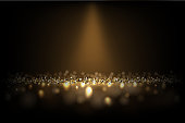 Dark luxury background. Vector shiny golden texture under light beam