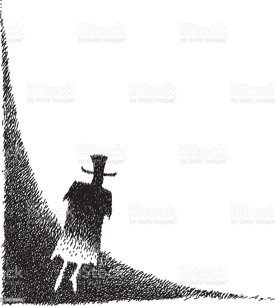 Dark Man rising vector art illustration