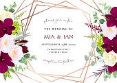 Luxury fall flowers vector geometric card. Dark marsala orchid, pink camellia, yellow rose,burgundy red astilbe, green hydrangea, eucalyptus.Gold polygonal line art. Autumn wedding invitation.Isolated