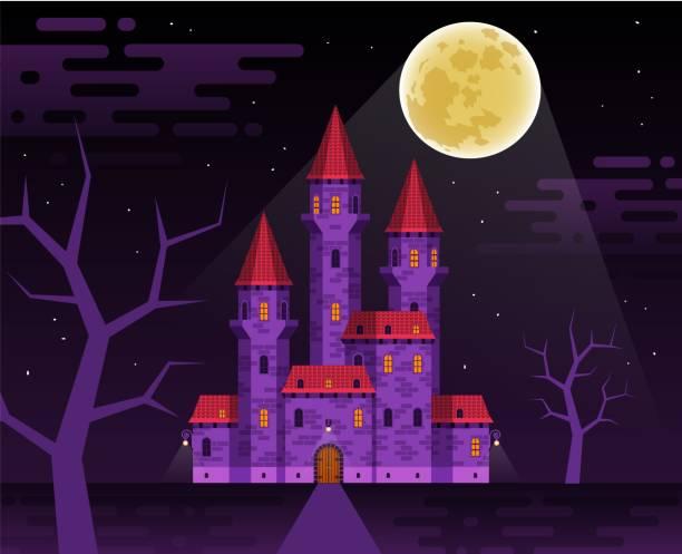 Bекторная иллюстрация Dark medieval castle in the night
