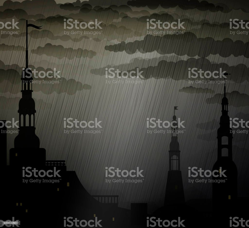 Dark medieval city background with towers under the rain, rain in the city, vector art illustration