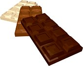 Three Bars of Chocolate: Dark Milk and White Isolated on White Background. Vector 3D Realistic Illustration.