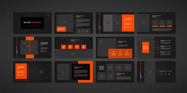 illustrations, cliparts, dessins animés et icônes de modèle de présentation de diapositives minimale foncée. modèle de présentation d'entreprise - book