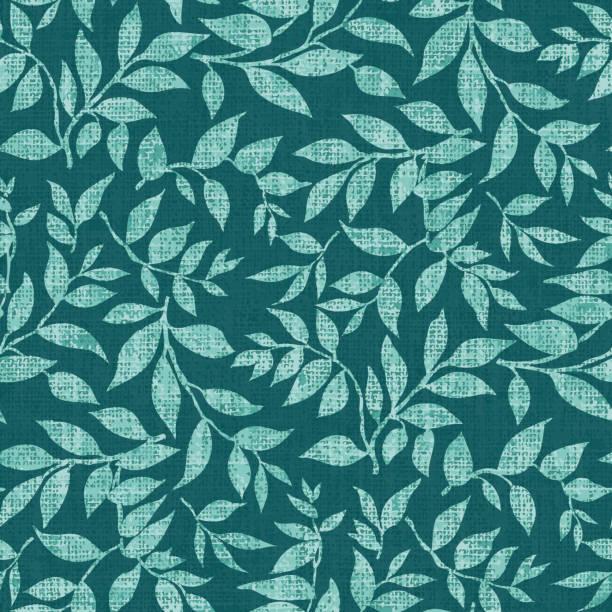 Dark mint green leafy pattern vector art illustration