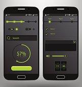 Dark Mobile Graphic UI Vector Template Kit