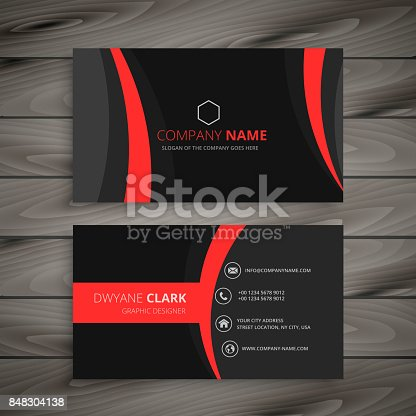 dark modern red black business card template vector design illustration