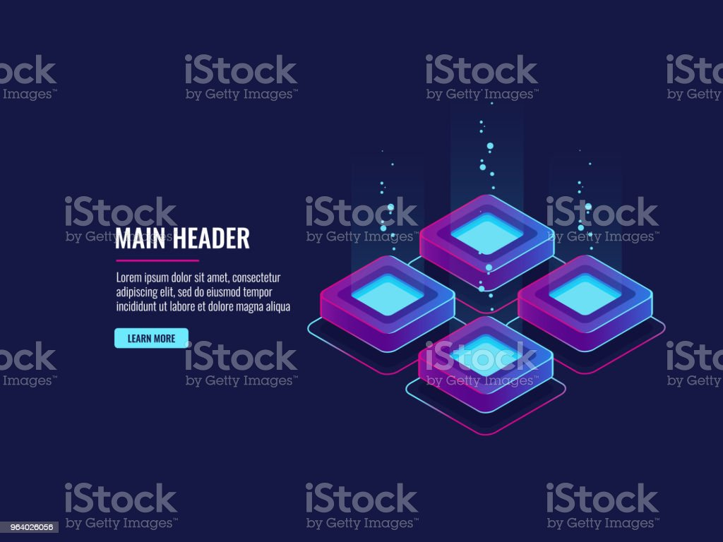 dark neon isometric vector server room data center design concept, illustration in ultraviolet colors - Royalty-free Accessibility stock vector