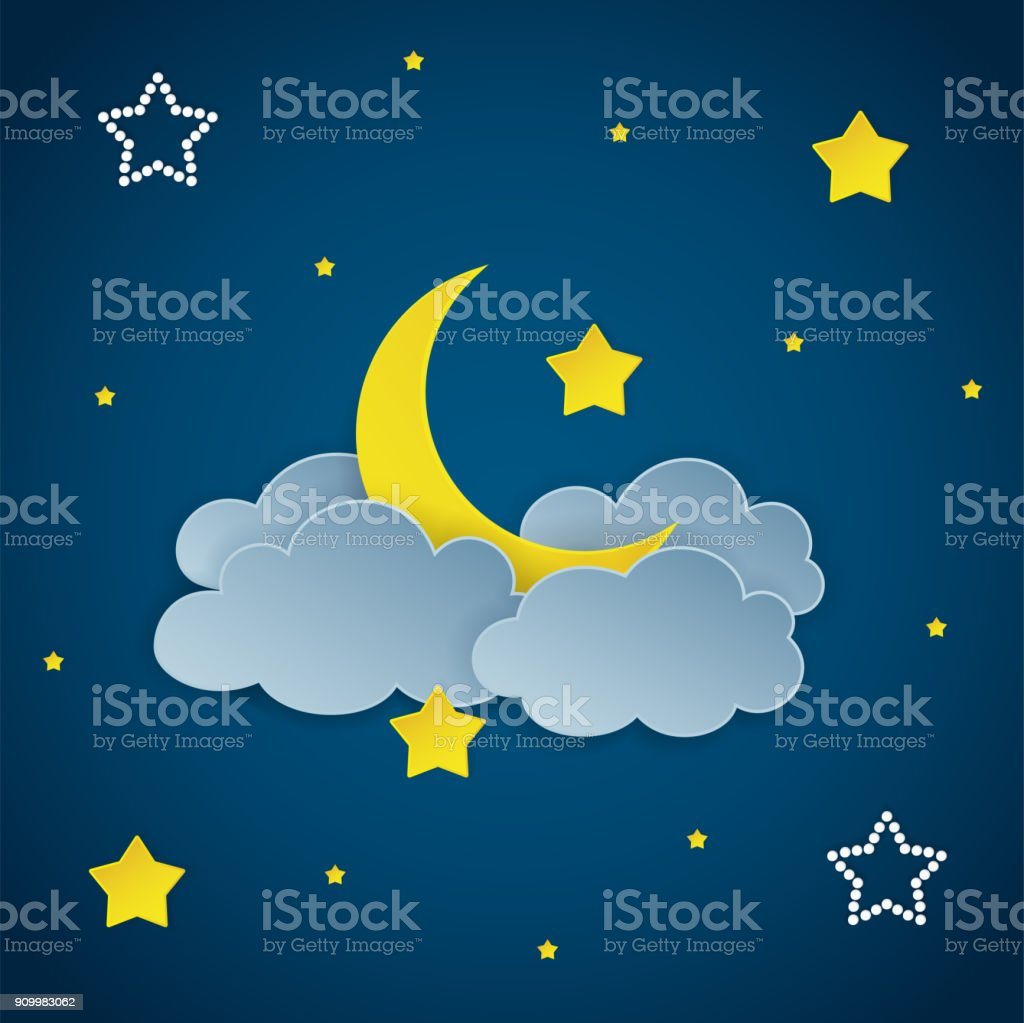 Dark night sky background with clouds, stars and crescent moon. Vector Illustration. vector art illustration