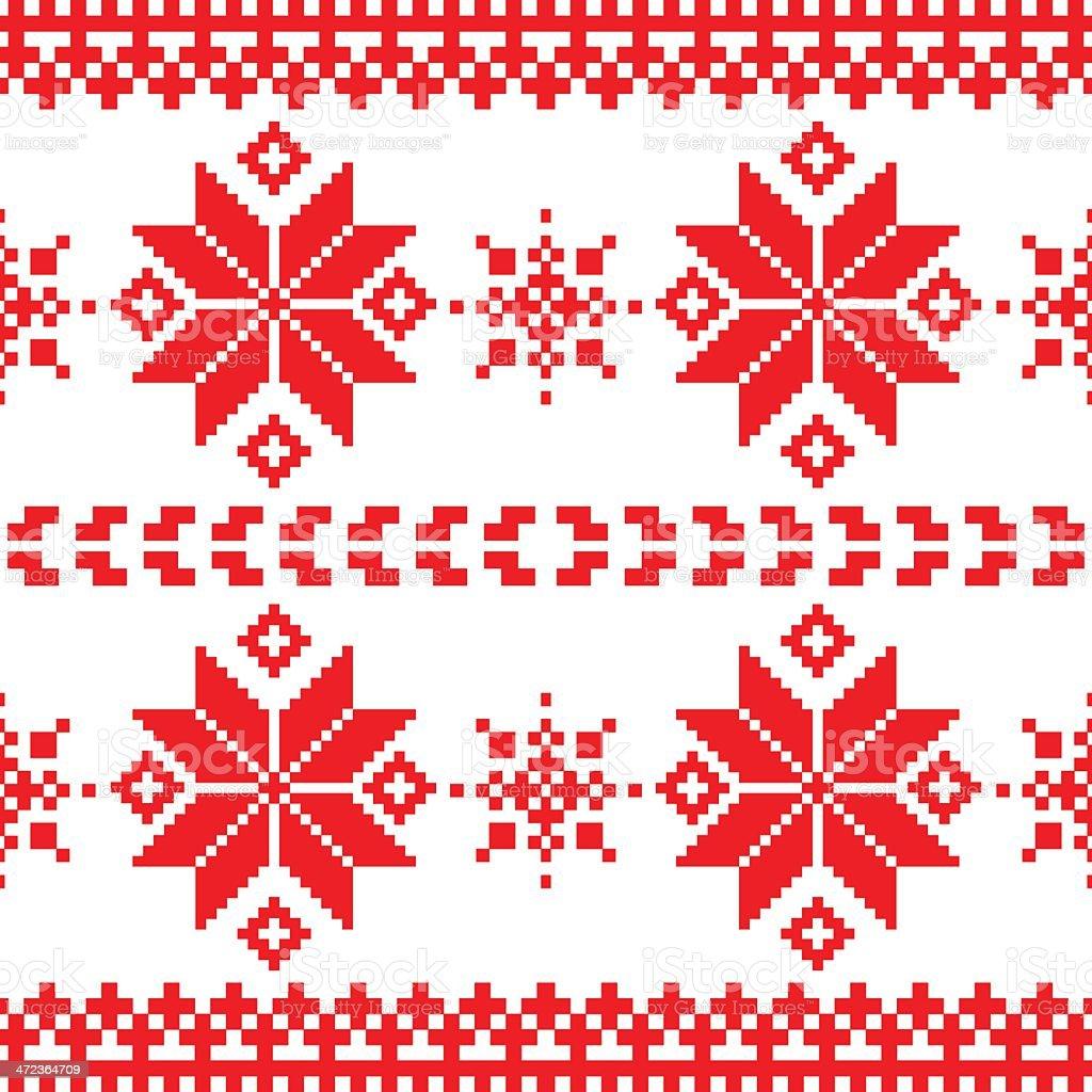 Dark nordic knitted seamless pattern vector art illustration
