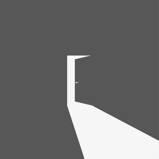 ilustrações, clipart, desenhos animados e ícones de silhueta aberta escura do ícone da porta, ilustração do vetor - portal