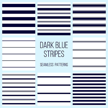 dark or navy blue stripes seamless pattern set