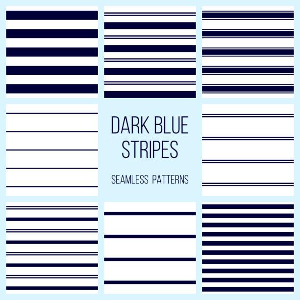 ilustrações, clipart, desenhos animados e ícones de listras azul marinho ou escuro sem costura padrão conjunto - velejar