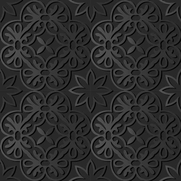 3d dunkle papierkunst runde spirale cross rahmen blume - gartenskulpturkunst stock-grafiken, -clipart, -cartoons und -symbole
