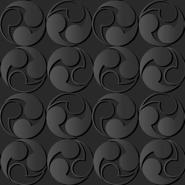3d dunkle papierkunst spirale runde vortex geometrie - gartenskulpturkunst stock-grafiken, -clipart, -cartoons und -symbole