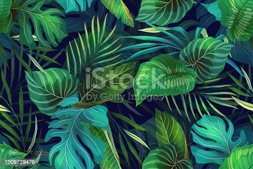 Seamless vector pattern with exotic tropical plants in modern style. Trendy jungle colorful background design. Nature textile fashion wallpaper print.