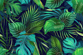 istock Dark pattern with exotic leaves 1209729476