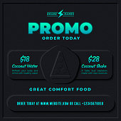 Dark Poster or Flyer Template in Clean and Modern Skeuomorphism or Neumorphism 3D style For Cyberpunk Synthwave Banner for Pizza or Restaurant Promo Menu