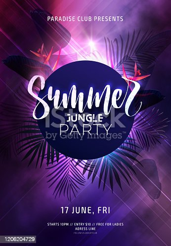 Dark purple neon tropical summer party flyer with banana palm leaves and jungle flowers. Modern gradients. Electric glow background with copy space. Vector illustration.