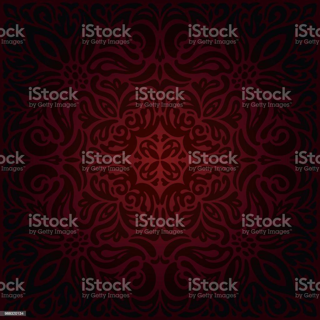 Dark red brown wallpaper seamless vector decorative design background mandala векторная иллюстрация