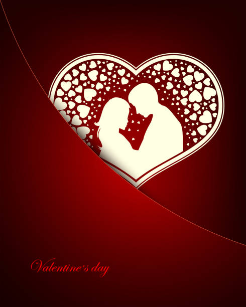 dark red design with a loving couple inside the heart - leap year stock illustrations, clip art, cartoons, & icons