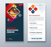 Dark Red DL Flyer design with square shapes, corporate business template for dl flyer. Creative concept flyer or banner layout