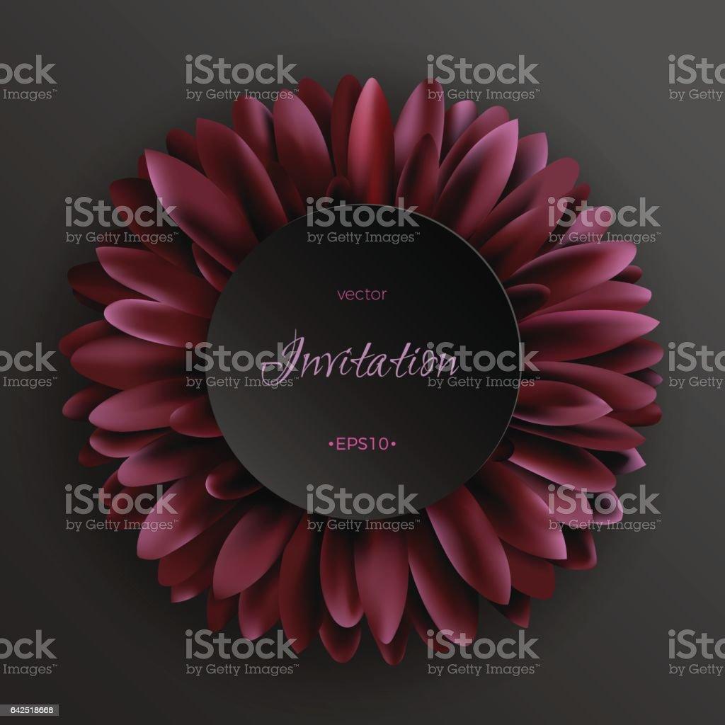 Dark red gerbera flower on black background template vector art illustration