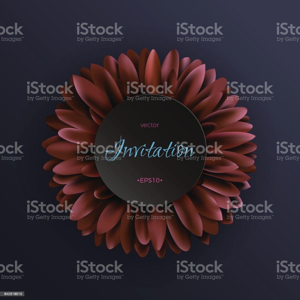 Fleur De Gerbera Rouge Fonce Sur Le Modele Dinvitation De Fond Bleu