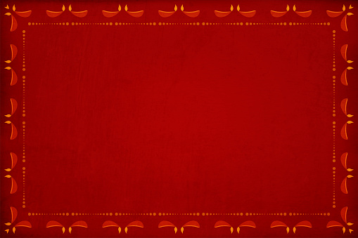 Dark red grunge Background with a pattern of row of dots and candle diyas border