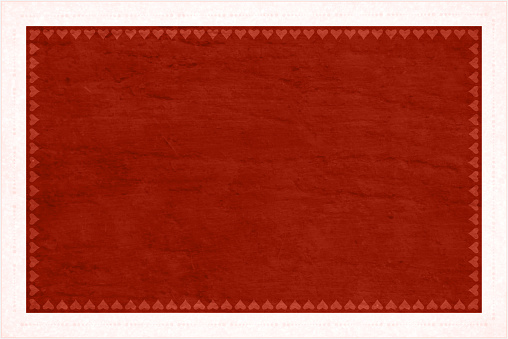Dark red grunge Backgrounds with a row of small hearts and a pattern of dots forming a border all around the horizontal frame