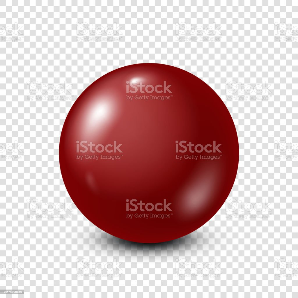 Dark red lottery, billiard,pool ball. Snooker. Transparent background. Vector illustration vector art illustration