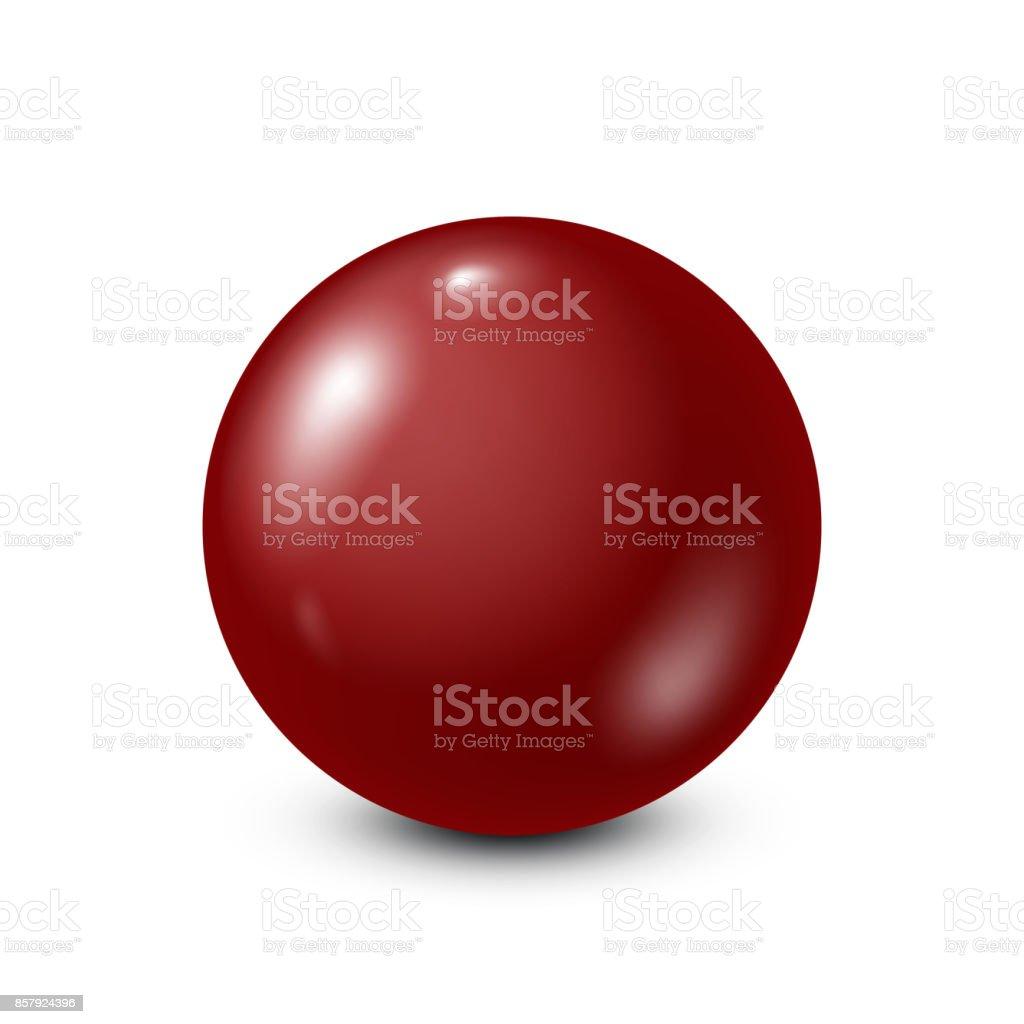 Dark red lottery, billiard,pool ball. Snooker. White background. Vector illustration vector art illustration