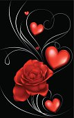 dark red roses and heart